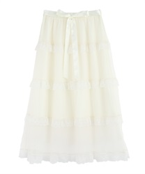 Dot tulle tiered skirt(Ecru-Free)