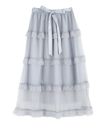 Dot tulle tiered skirt(Saxe blue-Free)