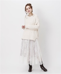 Lace×tulle skirt(Pale pink-Free)