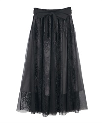 Lace×tulle skirt(Black-Free)