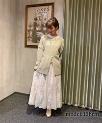 Lace×tulle skirt