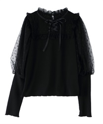 Fluffy puff sleeve pullover(Black-Free)