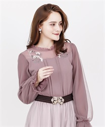 Cosmos embroidery rib pullover(Pale pink-Free)