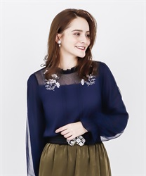 Cosmos embroidery rib pullover(Navy-Free)