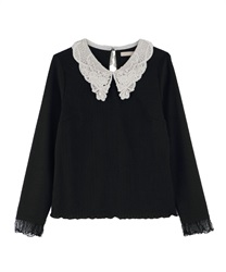 Lacey collar Pullover(Black-Free)