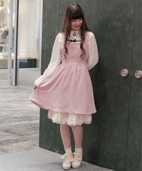 Apron-style jumper skirt(Pale pink-Free)