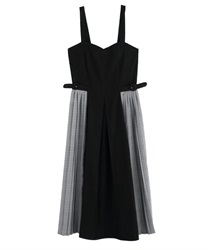 Side Plaid Pleated Dress(Black-Free)
