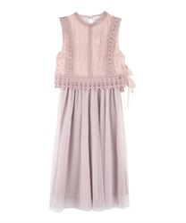 Lace x tulle dress(Pale pink-Free)