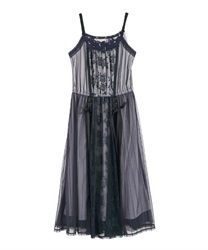 Lace and Tulle Cami One-piece(Navy-Free)