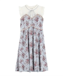 Rose Pattern Sleeveless Dress(Saxe blue-Free)