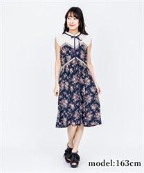 Rose Pattern Sleeveless Dress(Navy-Free)