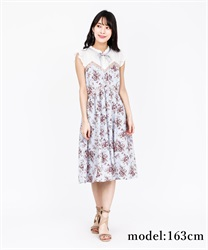 Rose Pattern Sleeveless Dress