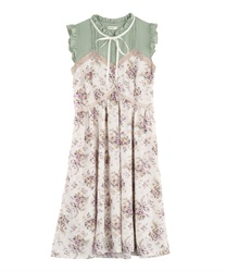 Rose Pattern Sleeveless Dress(Ecru-Free)