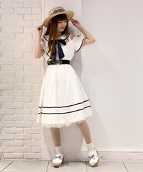 Off-Shoulder Sailor Collar Onepiece(White-Free)