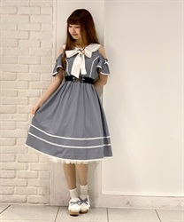 Off-Shoulder Sailor Collar Onepiece(Saxe blue-Free)