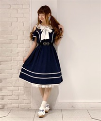 Off-Shoulder Sailor Collar Onepiece(Navy-Free)