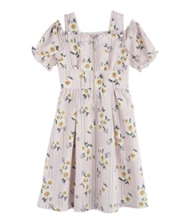 Daisy-striped shoulder-open dress(Pale pink-Free)