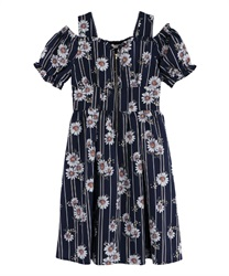 Daisy-striped shoulder-open dress(Navy-Free)
