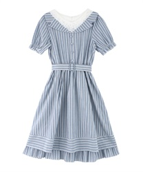 Stripe Layered Dress(Saxe blue-Free)