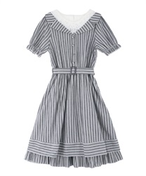 Stripe Layered Dress(Navy-Free)