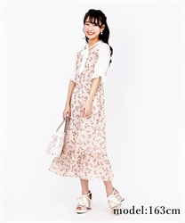 Choker ribbon floral dress(Pale pink-Free)