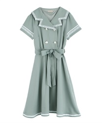 Double Button Sailor Dress(Green-Free)