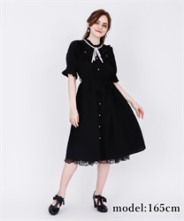 Blouse Dress with Brooch(Black-Free)