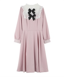 Long dress with ribbon(Pale pink-Free)
