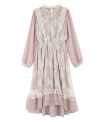 Lacy Classical Design Long Length Dress(Pale pink-M)