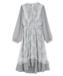 【MAX70%OFF】Lacy Classical Design Long Length Dress(Grey-M)