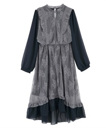 【MAX70%OFF】Lacy Classical Design Long Length Dress(Navy-M)