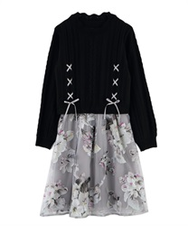 Knit × Floral Docking Dress(Black-Free)