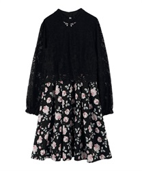 Lace × Floral Docking Dress(Black-Free)