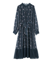 【Uniform price】Tulip Pattern Long Dress(Navy-Free)