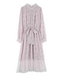 【Uniform price】Tulip Pattern Long Dress(Lavender-Free)