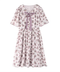 Rose pattern dress with collar(Pale pink-Free)