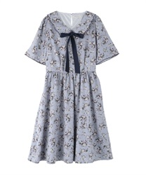Rose pattern dress with collar(Saxe blue-Free)