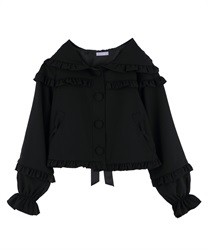 Ruffle hooded jacket(Black-Free)