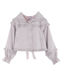 Ruffle hooded jacket(Greige-Free)