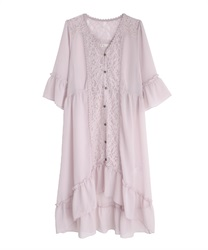 Back lace-up gown(Pale pink-Free)
