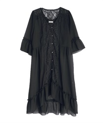 Back lace-up gown(Black-Free)