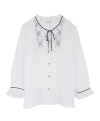 Blouse with embroidery(White-M)