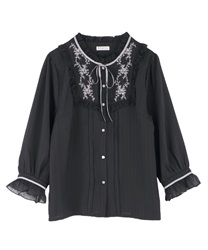 Blouse with embroidery(Black-M)
