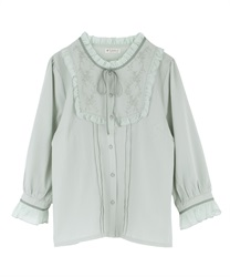 Blouse with embroidery(Mint Green-M)