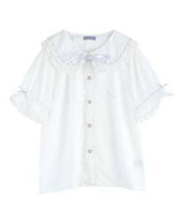 Ladder Lace Short Sleeve Blouse(White-Free)