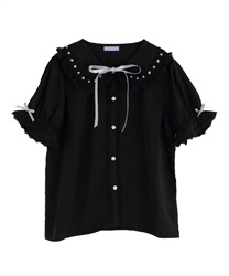 Ladder Lace Short Sleeve Blouse(Black-Free)
