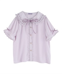 Ladder Lace Short Sleeve Blouse(Lavender-Free)