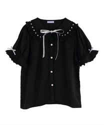 Ladder Lace Short Sleeve Blouse