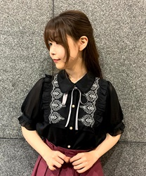 Ornament Embroidery Blouse(Black-Free)