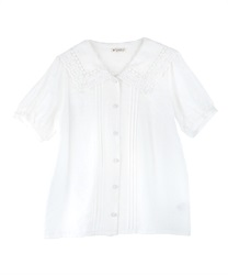 Lace Collar Wraparound Button Blouse(White-Free)